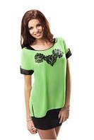 Блузка женская красивая яркая легкая зеленая Enny 17006