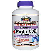 21st Century, Рыбий жир, Омега-3, максимальная сила, 1200 мг, 140 мягких таблеток