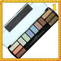 Тени для век MS-2012 Двенадцатицветные  Сатиновые Компактные тон 01