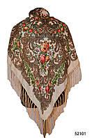 Платок шерстяной с турецким орнаментом бежевый, фото 1