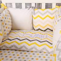 Комплект постельного белья для новорожденных Baby Design зигзаг серо-желтый