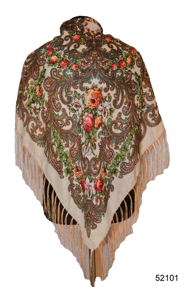 Платок шерстяной с турецким орнаментом бежевый 1