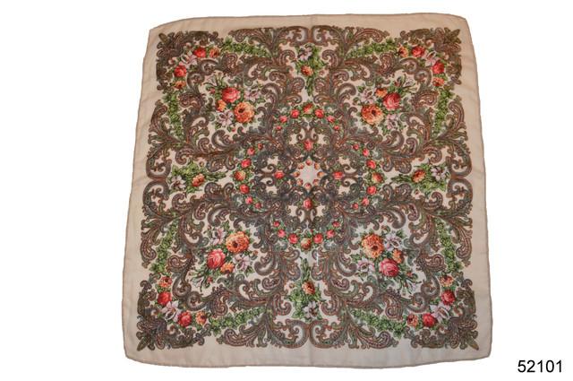 Платок шерстяной с турецким орнаментом бежевый 2