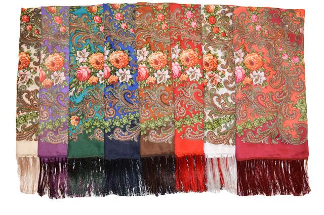 Платок шерстяной с турецким орнаментом бордовый 4