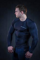 Рашгард мужской темно синий с черным швом (компрессионная одежда)