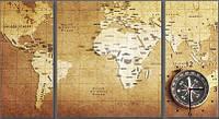 "Модульная картина-часы (80х45 см) ""Карта мира"""