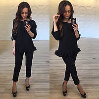 Модный черный женский брючный костюм, рукав трансформер . Арт-9866/83