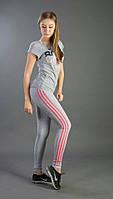 Трикотажные спортивные штаны-лосины серого цвета с розовыми полосками