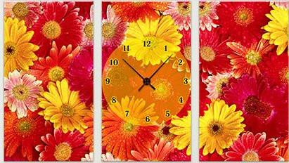 "Модульная картина-часы (75х45 см) ""Хризантемы"""