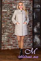 Демисезонное женское светлое пальто (р. S, M, L) арт. Мирта 77 крупное букле лайт 9197