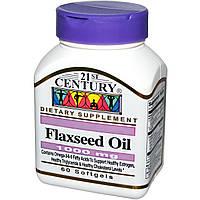 21st Century, Льняное масло, 1000 мг, 60 мягких таблеток