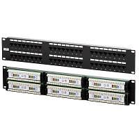 """Патч-панель 48 порта UTP DUAL кат 5Е 19"""" 2U не экранированная черная Q20"""