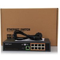 Коммутатор POE 54V 8 портов PoE + 1 порт Gigabit Ethernet (UP-Link), корпус -металл, Black, встроенный БП