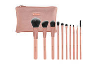 Набор кистей в косметичке Pretty in Pink – 10 Piece Brush Set with Cosmetic Bag BH Cosmetics Оригинал