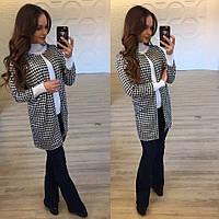Женский черно-белый трикотажный пиджак. Арт-9870/83