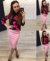 Модный юбочный костюм: Кофточка-цветочный принт, юбка-цвет пудра. Арт-9871/83