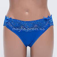 Женские трусы хлопок с кружевом синие р.48  L9135-482 Большой выбор нижнего белья!