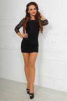 Батальное черное  платье с дорогим итальянским кружевом. Арт-9872/83
