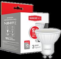 Лампа светодиодная Maxus MR16 5W GU10 теплый свет Арт.(1-LED-517)