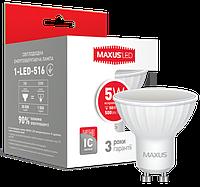 Лампа светодиодная Maxus MR16 5W GU10 яркий свет Арт.(1-LED-516)