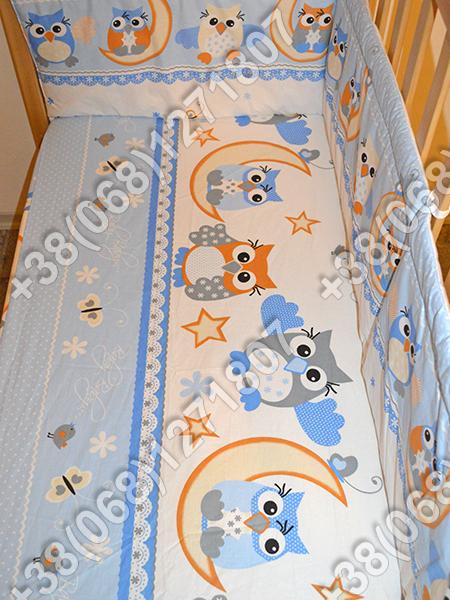 """Детское постельное белье в кроватку """"Бим Бом"""" комплект 5 ед. (сова голубой)"""