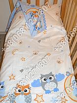 """Детское постельное белье в кроватку """"Карапуз"""" комплект 7 ед. (сова голубой), фото 3"""