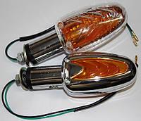 Повороты мотоциклетные двусторонние лодочка хром ( прозрачное стекло )