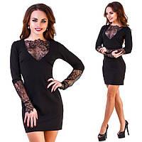 Черное батальное платье, отделка дорогим кружевом. Арт-9874/83