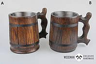 Деревянная пивная кружка, деревянный бокал темный, дубовый пивной бокал