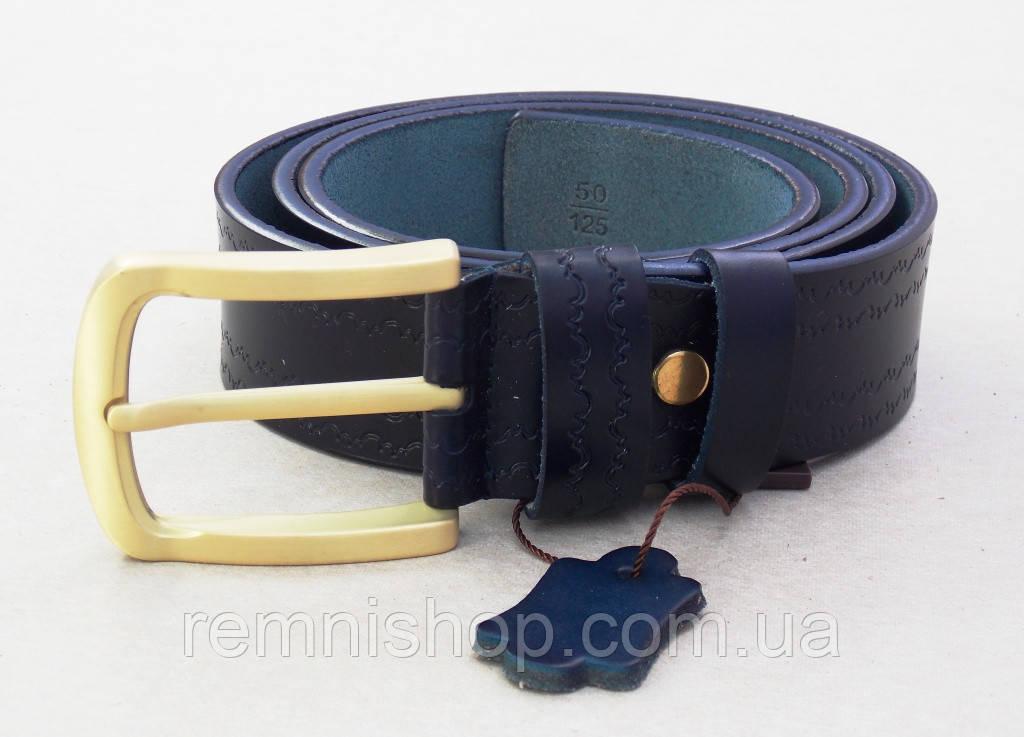 Синий кожаный ремень с узором TIA женский