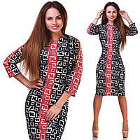 Красивое красное  трикотажное  принтованое платье батал. Арт-9875/83