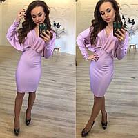 Красивое светло-сиреневое  платье летучая мышь.  Арт-9876/83