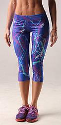 Женские бриджи (лосины) для занятие спортом синие Fitness Queen