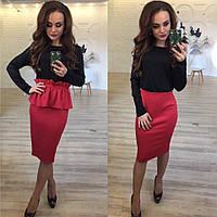 Женское черно-красное платье + пояс болеро.  Арт-9877/83