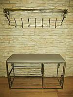 Комплект кованной мебели Step 01,банкетка и вешалка