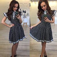 Стильное платье в горошек с кружевом. В комплекте фатиновый подъюбник.  Арт-9878/83