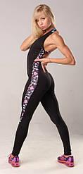 Женский спортивный боди комбинезон черный с боковой полосой  Dumbbles