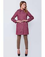 Пальто из красивой шерстяной ткани с узором «елочка»
