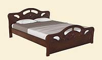 Практичная двуспальная кровать из натуральной древесины, с фигурными изголовьем и изножьем. Модель Л-221