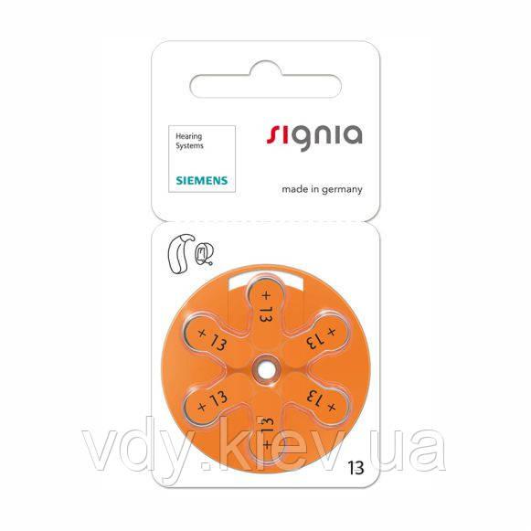 Батарейки для слуховых аппаратов Siemens/Signia 13, 6 шт.