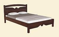 Элегантная двуспальная кровать из натуральной древесины, с красивыми резными элементами. Модель Л-223