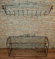 Комплект кованной мебели Step 04,банкетка и вешалка