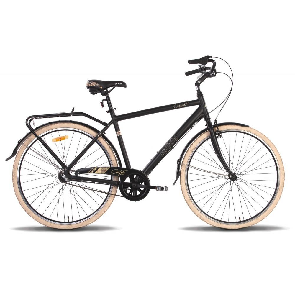 """Велосипед 28"""" Pride Comfort 3 рама - 20"""" черно-бежевый матовый 2016"""