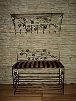 Комплект кованной мебели Step 13,банкетка и вешалка