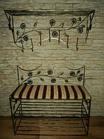 Комплект кованной мебели Step 14,банкетка и вешалка