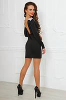 Черное короткое платье с открытой спиной, камни на плечах.  Арт-9885/83