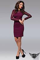 Платье верх гипюр, юбка карандаш с рукавами  Красное Бордовое Черное Черный, 42-44 (S)