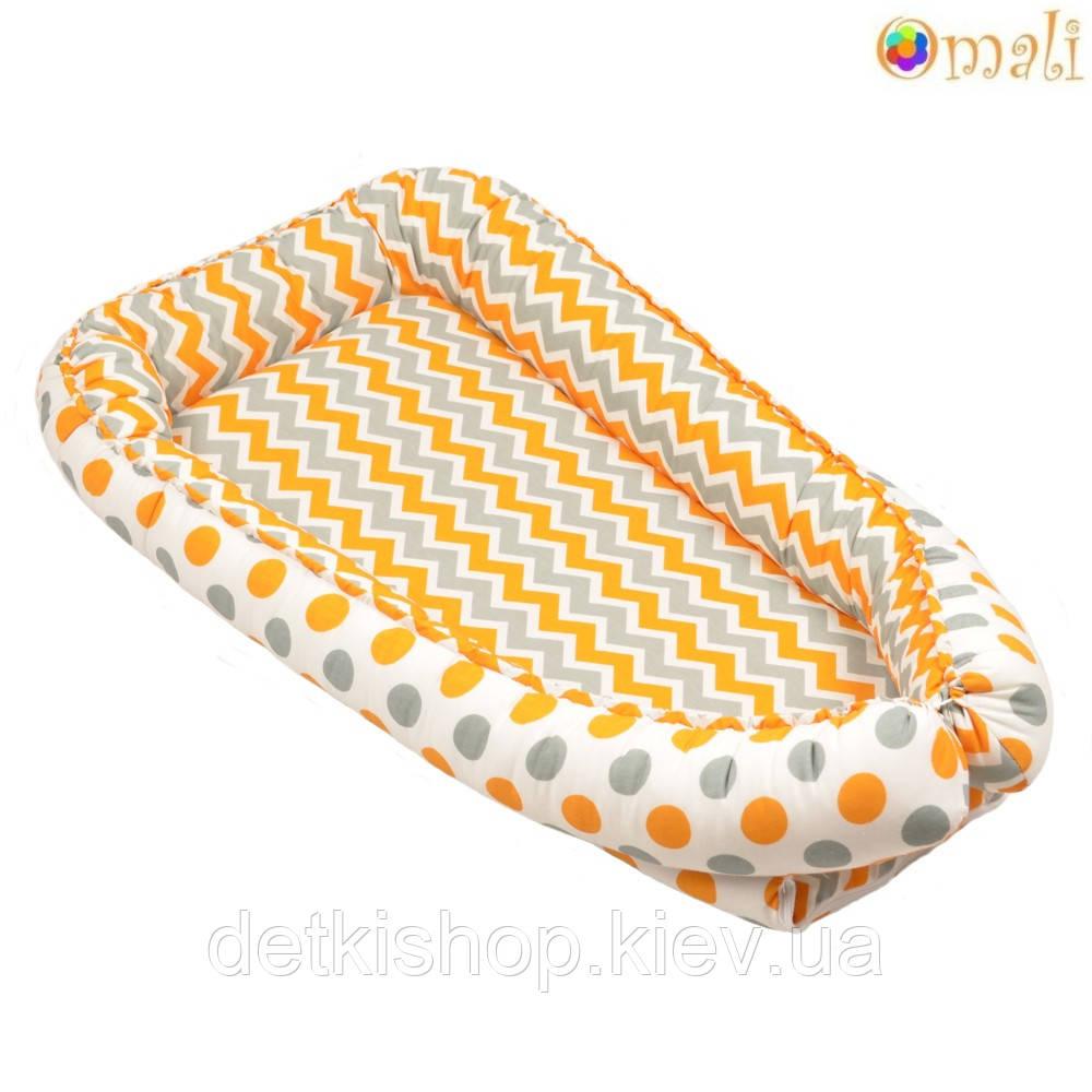 Гнездо для новорожденных ТМ «Omali» оранжевый зигзаг и горошек