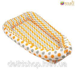 Гніздо для немовлят ТМ «Omali» помаранчевий зигзаг і горошок