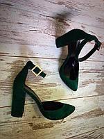 Туфли изумрудного цвета из натуральной замши